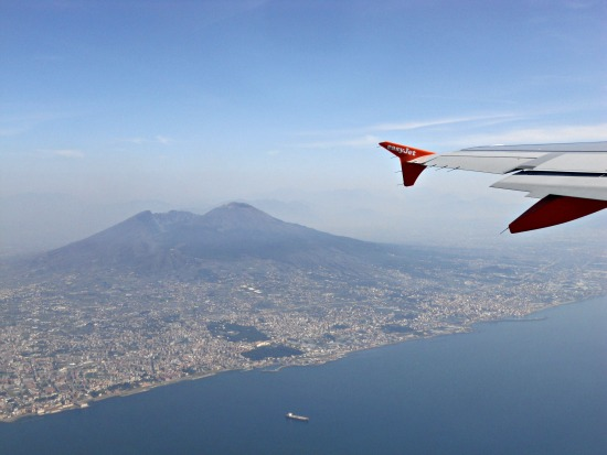 Flying Over the Bay of Naples in Southern Italy