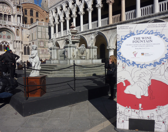 Venice Carnivale 2012, The Wine Fountain in Piazza San Marco, Photo credit: Leslie Rosa